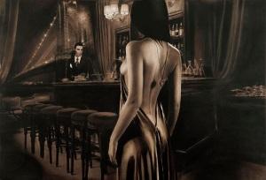 ibiza escort cartoon bar evening dress
