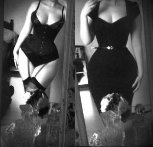 black corset under black dress escort marbella
