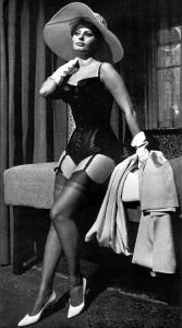 escort marbella sofia loren hat and corset