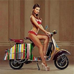 beautiful girl in red lingerie and high heels on stripey vespa milf london