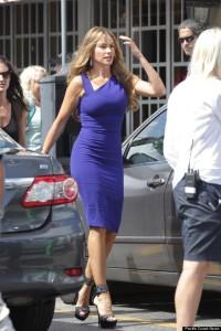 ibiza escort Sofia Vergara wears a tight blue dress as she leaves the set of Chef in Little Havana, Miami