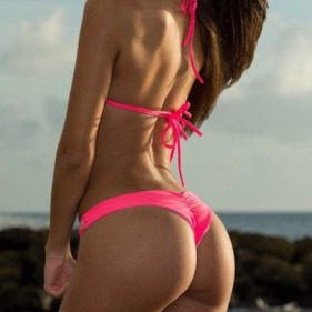 rear view pink bikini long brown hair